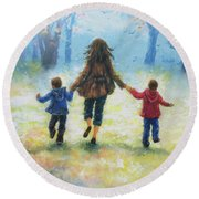 Mother And Two Sons Out For A Walk Round Beach Towel