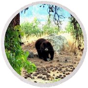 Mother Bear Round Beach Towel