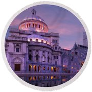 Mother Church And Reflection Round Beach Towel