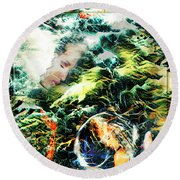 Mother Earth Sister Moon Round Beach Towel