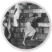 Mother Ganges - Paint Bw Round Beach Towel