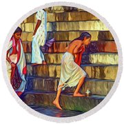 Mother Ganges - Paint Round Beach Towel
