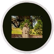 Mother Mary Round Beach Towel
