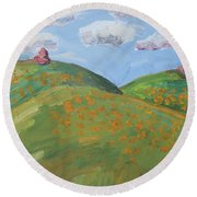 Mother Nature With Poppies Round Beach Towel
