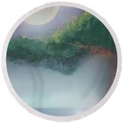 Mother Natures Face Round Beach Towel