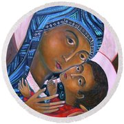 Mother Of God And Child Round Beach Towel