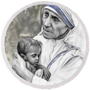 Mother Teresa. God Bless This Child Round Beach Towel