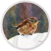Mother Wren Round Beach Towel