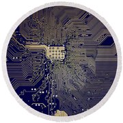 Motherboard Architecture Blue Round Beach Towel