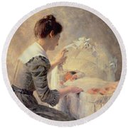 Motherhood Round Beach Towel by Louis Emile Adan