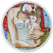 Motherhood - Tribute To Klimt Round Beach Towel