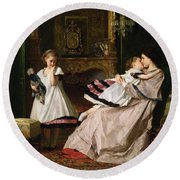 Motherly Love Round Beach Towel by Gustave Leonard de Jonghe