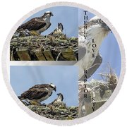 Motherly Love Raptor Style Round Beach Towel