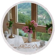 Mother's Day Card - German Cafe Round Beach Towel