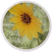 Mother's Day Sunflower Round Beach Towel