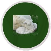 Mother's  First Love Round Beach Towel