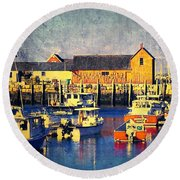 Motif No. 1 - Sunset Digital Art Oil Print Round Beach Towel