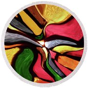 Motion And Light Abstract Round Beach Towel