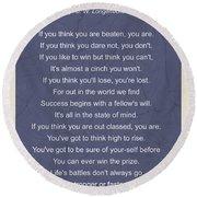 Motivational Poem - The Victor Round Beach Towel