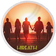 Motivational Travel Poster - Hireath Round Beach Towel