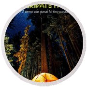Motivational Travel Poster - Peripatetic Round Beach Towel