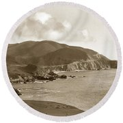 Notleys Landing Big Sur Coast Circa 1933 Round Beach Towel