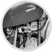 Moto Ducati Motorcycle -2115bw Round Beach Towel