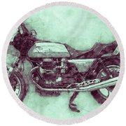 Moto Guzzi Le Mans 3 - Sports Bike - 1976 - Motorcycle Poster - Automotive Art Round Beach Towel