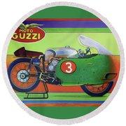 Moto Guzzi V8 Round Beach Towel
