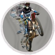 Motocross Rider With Flying Pieces Round Beach Towel