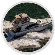 Motor Boat 2 Round Beach Towel