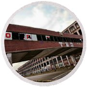 Motor City Industrial Park The Detroit Packard Plant Round Beach Towel