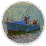 Motor Yacht At Spruce Point Boothbay Harbor Maine Round Beach Towel