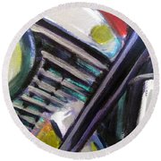Motorcycle Abstract Engine 1 Round Beach Towel