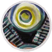 Motorcycle Abstract Engine 2 Round Beach Towel