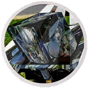 Motorcycle And Park Bench As Art Round Beach Towel
