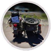 Motorcycle Love Story Round Beach Towel