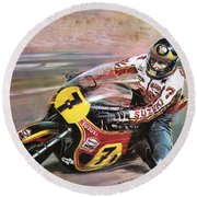 Motorcycle Racing Round Beach Towel by Graham Coton
