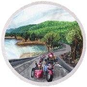 Motorcycle Ride Round Beach Towel