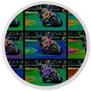 Motorcycle Road Race Round Beach Towel