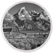 Moulton Cabin - Grand Tetons II Round Beach Towel