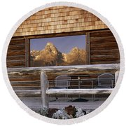 Moulton Ranch Cabin Reflection Grand Tetons Round Beach Towel