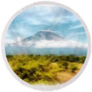 Mount Agung On The Island Paradise Of Bali Round Beach Towel