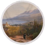 Mount Athos And The Monastery Round Beach Towel