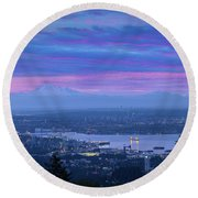 Mount Baker And Vancouver Bc At Dawn Round Beach Towel