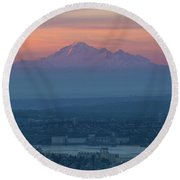 Mount Baker At Sunrise Round Beach Towel