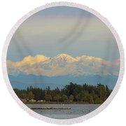 Mount Baker From Semiahmoo Bay In Washington Round Beach Towel