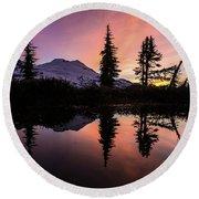 Mount Baker Sunrise Reflection Round Beach Towel