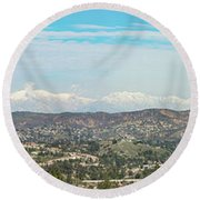 Mount Baldy And Mountain High Round Beach Towel