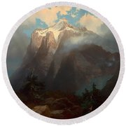 Mount Brewer From King's River Canyon - California Round Beach Towel